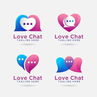 사랑 채팅 로고 디자인 세트