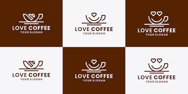 愛のコーヒーのセット、コーヒーショップのロゴデザインシンボル
