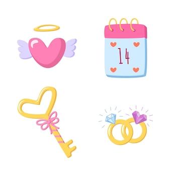 Набор элементов любви для дня святого валентина в мультяшном стиле, изолированные на белом фоне. рисованные романтические рисунки в форме сердца, ключа, календаря, обручальных колец. сладкая иллюстрация ..