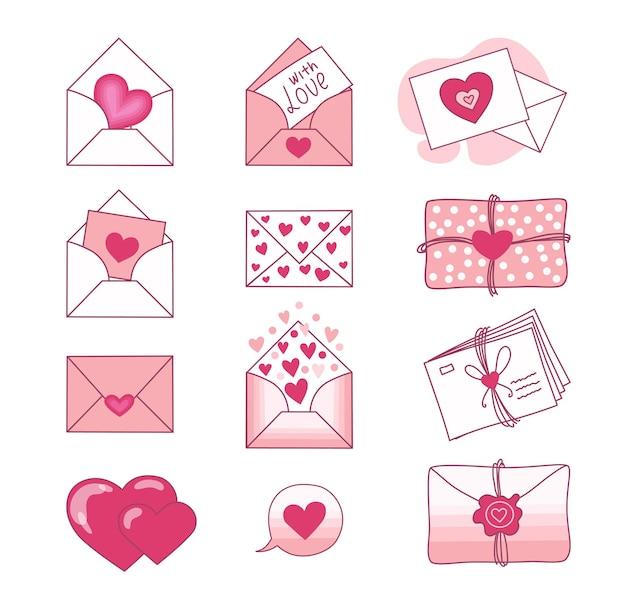 Набор любовных писем и валентинок на белом фоне. день святого валентина. .