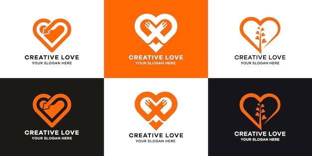 ラインアートスタイルの愛のロゴコレクションのセット