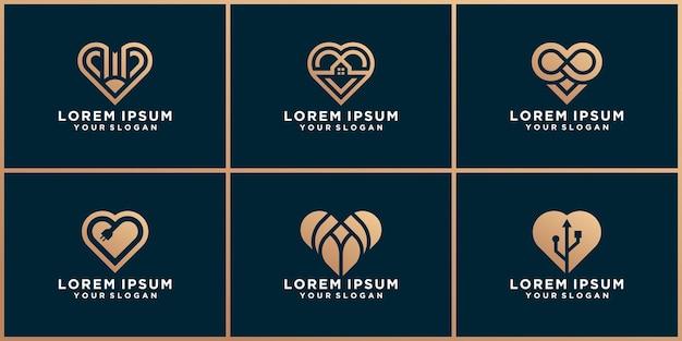 愛のロゴデザインのセット
