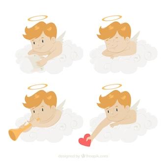 美しい天使の異なるポーズのセット