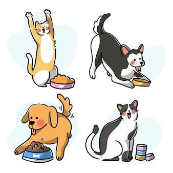 Набор милых домашних животных, едящих премиум векторные иллюстрации каракули