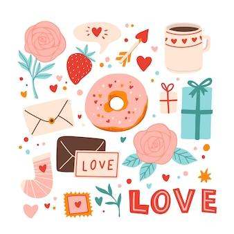 사랑스러운 발렌타인 요소 집합