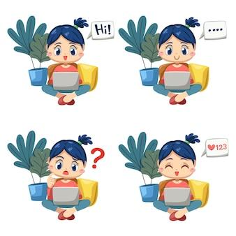 Набор прекрасной женщины, сидящей и использующей портативный компьютер, работающей из дома в мультипликационном персонаже и разнице эмоций, изолированных векторная иллюстрация