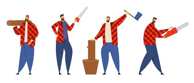作業装置とツール、チェーンソー、斧、のこぎり、木製の丸太を保持しているウッドカッターでポーズをとっている格子縞のシャツの木こりの男性キャラクターのセット。