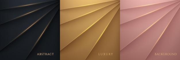 豪華なブラックゴールドピンクゴールドメタリック光沢のある背景のセット