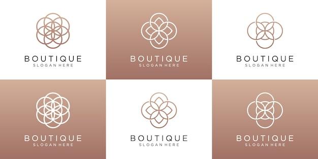 高級ブティックと花のロゴのデザインテンプレートのセット
