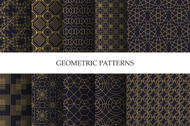 Набор роскошных темных геометрических узоров и декоративных обоев