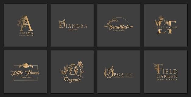 結婚式の花の要素とブランドの高級花ロゴのセット。
