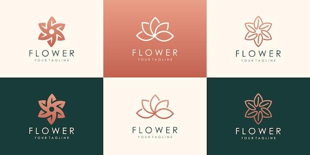 高級花のロゴタイプのセットです。線形ユニバーサルリーフ花のロゴ