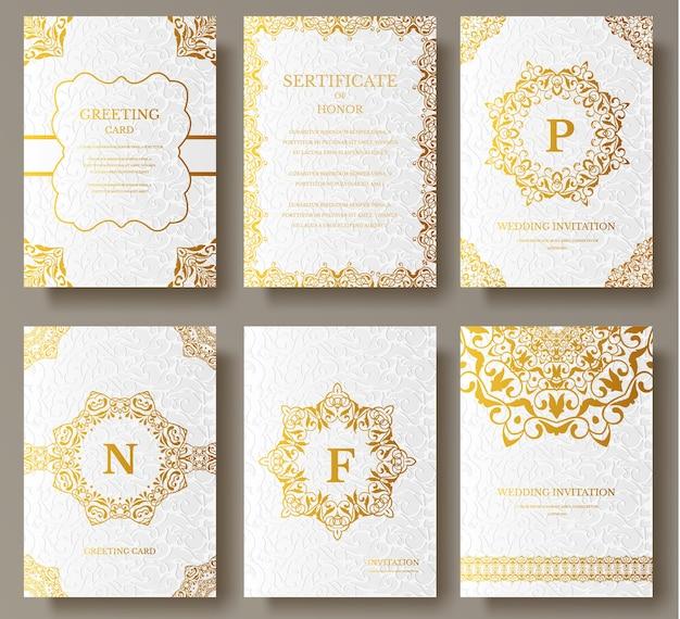 ロゴパンフレットテンプレートで設定された豪華なゴールドの芸術的なページのセット Premiumベクター
