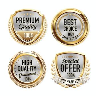 Набор роскошных золотых значков качества