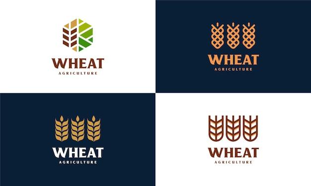 高級穀物小麦ロゴコンセプト、農業小麦ロゴテンプレートベクトルアイコンのセット