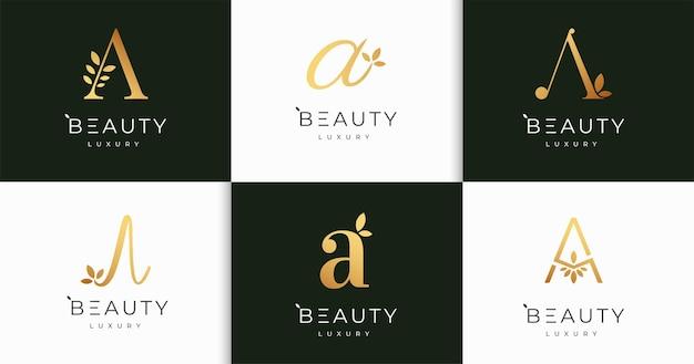 럭셔리 문자 자연 여성의 아름다움 모노그램 스타일 로고 디자인 서식 파일 세트
