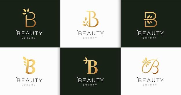 고급 문자 b 자연 여성의 아름다움 모노그램 스타일 로고 디자인 서식 파일 세트