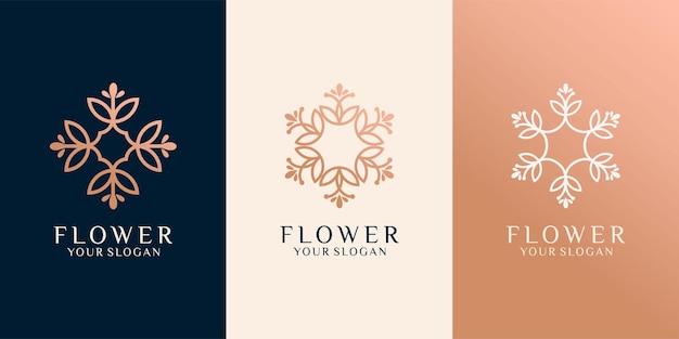 Набор роскошных цветочных логотипов premium векторы