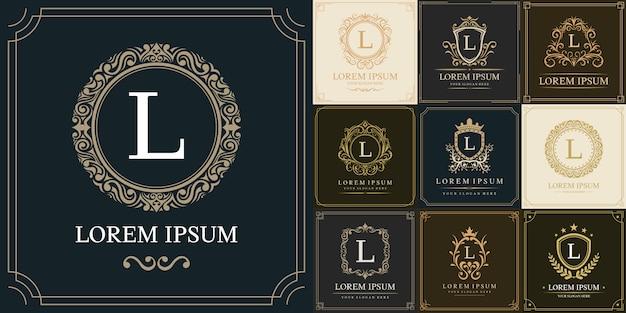 Набор шаблонов логотипа класса люкс, буквица l