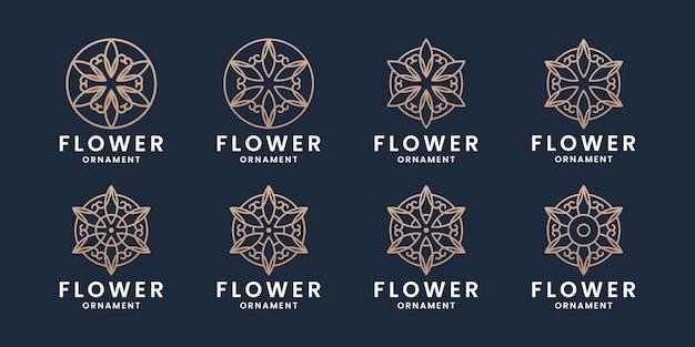 황금색으로 고급스러운 모노그램 꽃 장식 로고 디자인 세트