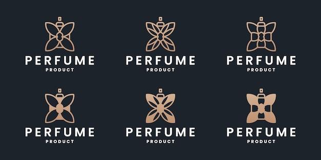 Набор роскошных духов коллекции дизайн логотипа.