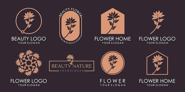 Набор роскошных роз или цветочных логотипов красоты. логотип можно использовать для значка, бренда, индивидуальности, женственности, креатива, золота и деловой компании premium векторы