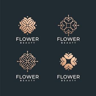 高級スパゴールドフラワーロゴデザインコレクションのセットです。