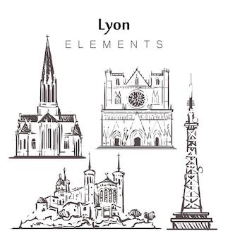 Набор зданий лиона, изолированные на белом