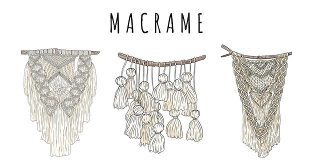 マクラメボヘミアンスタイルの壁掛けハンガーのセットが落書き。テキスタイルノット自由奔放に生きるデザイン要素。先住民族の線形の現代的な本物の結び目画像
