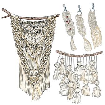 マクラメ自由奔放に生きるスタイルの壁掛けハンガーとキーホルダーの落書きスケッチのセットテキスタイル結び目のデザイン要素のコレクションシンプルな線形のモダンな土着の工芸品