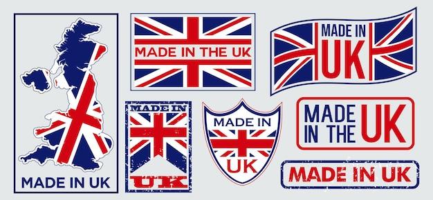 Набор этикеток made in united kingdom для розничных товаров или изделий из ткани