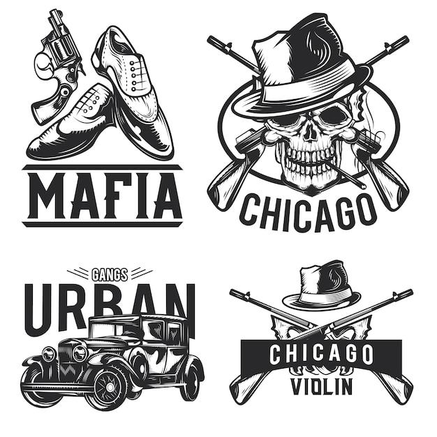 マフィアのエンブレム、ラベル、バッジ、ロゴのセット。白で隔離