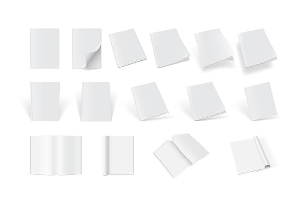 Набор обложек журналов с разных сторон на белом фоне
