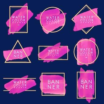 마젠타 수채화 배너 디자인 벡터의 집합
