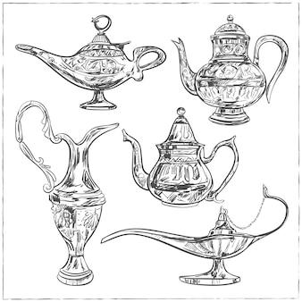 イスラム教徒のコミュニティの聖なる月、ラマダンカリームの祭典のための魔法のアラビア語ランプのセット。古いスタイルの石油ランプをスケッチします。孤立した図。