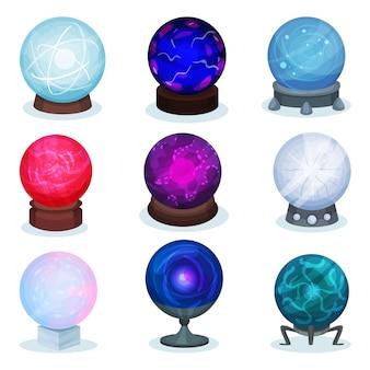 Набор волшебных шаров. разноцветные стеклянные сферы. объект для предсказания будущего. элементы для мобильной игры или рекламный плакат