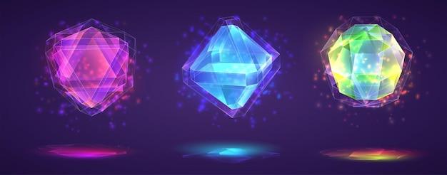 魔法の結晶のセット。明るいレインボー仕上げのジェムストーン