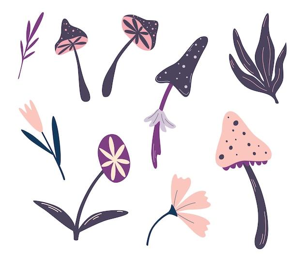 마법의 버섯과 꽃 세트 마법과 신비주의 신비주의 컬렉션