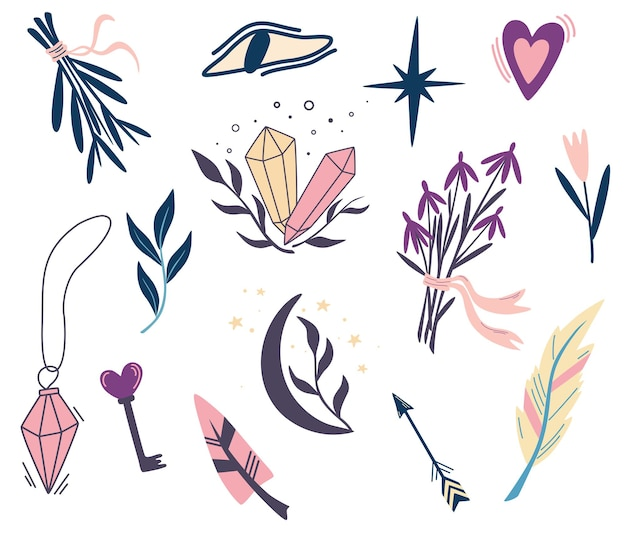 마법의 식물과 기호 집합입니다. 달, 꽃, 눈, 수정, 허브, 깃털. 문신, 섬유, 카드, 할로윈 장식을 위한 손으로 그린 삽화. 만화 스타일의 벡터 일러스트 레이 션
