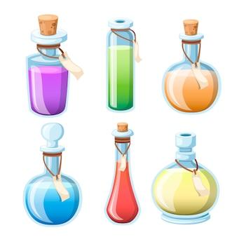 마법의 묘약 세트. 다채로운 액체와 병. 마법의 비약의 게임 아이콘. 보라색 물약 아이콘입니다. 마나, 건강, 독 또는 마법의 비약. 흰색 배경에 그림