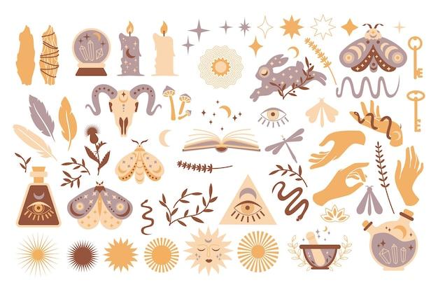魔法のシンボル、難解な魔女の入れ墨のセット。三日月、顔のある太陽、手、植物、魔法のボールと星、クリスタルのコレクション。ベクトルフラット神秘的なヴィンテージイラスト。カードの自由奔放に生きるデザイン