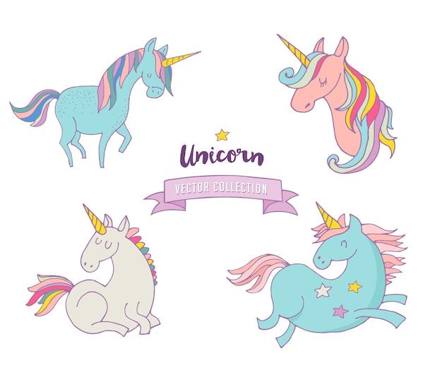 Набор волшебных единонов - милые рисованные значки, иллюстрации