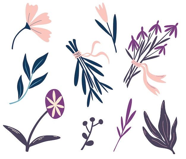 마법의 꽃과 허브 세트입니다. 샤머니즘과 오컬트 오브제. 할로윈 꽃 요소의 컬렉션입니다. 매직 가든. 야생화 꽃다발. 요술. 벡터 평면 그림입니다.