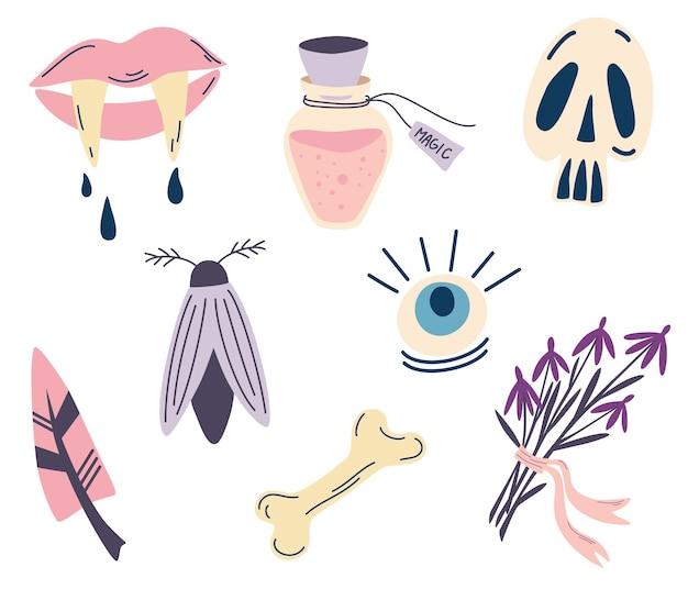 할로윈을 위한 마법의 아이템 세트. 신비롭고 마법적인 요소. 요술의 상징. 뱀파이어 송곳니, 해골, 물약, 눈, 뼈, 나방, 깃털이 있는 입술. 만화 스타일의 벡터 일러스트 레이 션.