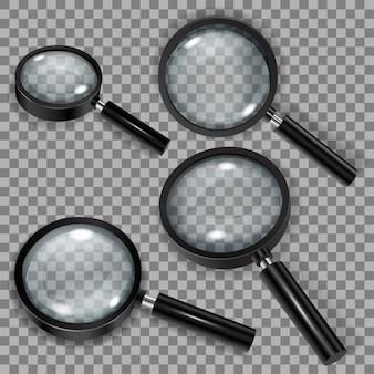 白い透明なメガネと黒いハンドルの付いた拡大鏡のセット