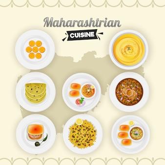 黄色の州地図の背景にマハラシュトリア料理のセット。