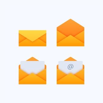 メール封筒アイコンのセット