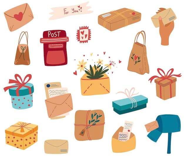 Набор почтовых отправлений. набор почтовых посылок, пакетов, ящиков, писем, конвертов. картонные упаковки для доставки. пункт почтового отделения. экологичная подарочная упаковка. изолированная иллюстрация вектора.