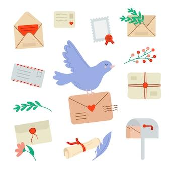 Набор почтовых писем и открыток и голубя
