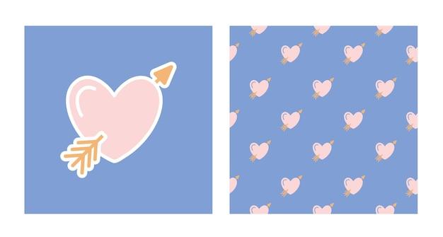 큐피드의 화살이 있는 마음의 주요 요소 및 패턴 집합입니다. 발렌타인 데이를 위해